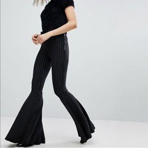 Bershka Pinstripe Flared Pants